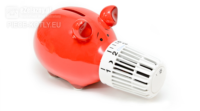 Czerwona świnaka skarbonka z regulacją temperatury od grzejnika