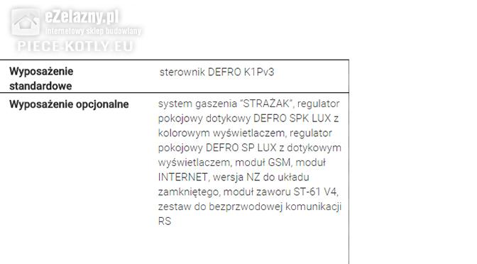 Piec na ekogroszek z podajnikiem Defro dane techniczne