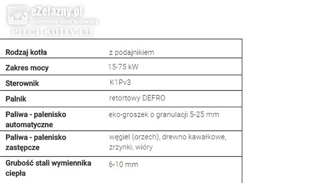 Piec na ekogroszek z podajnikiem dane techniczne